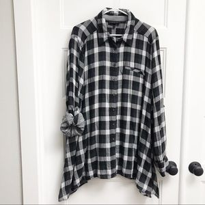 Lane Bryant Sharkbite Hem Plaid Button Up
